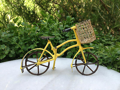 Miniature Dollhouse FAIRY GARDEN ~ Small Rustic Yellow Metal Bicycle with Basket