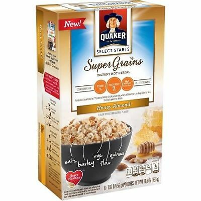 Quaker Super Grains Honey Almond Instant Oatmeal Hot Cereal