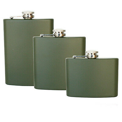 Military Stainless Steel Hip Flask Pocket Alcohol 4 6 8oz  - Green - All Sizes