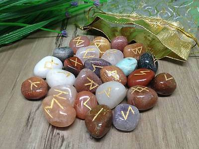 Mix Agate Runes Set for reiki healing with stylish pouch rune set