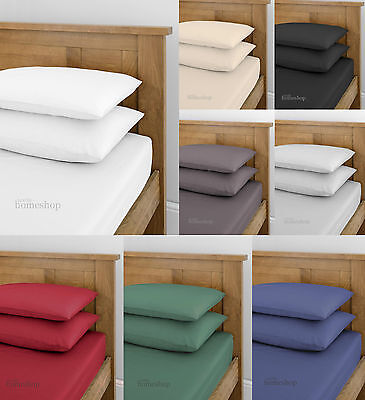 Plain Dyed Fitted Sheets  Double And King.  2 Pk Pillowcases Also Available