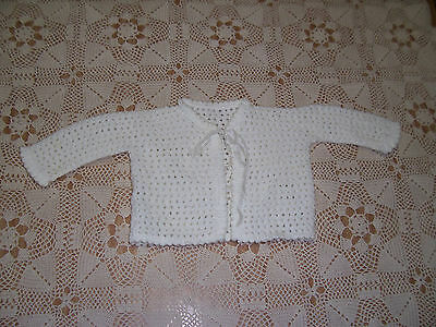 New Hand Crochet Baby Jacket Off White 0 -3  Months Approx