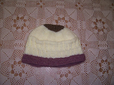 New Hand Knitted Baby Beanie Cream & Browns  6 -12 Months