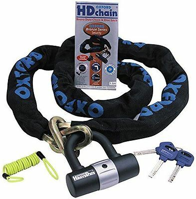 Oxford Hd Heavy Duty Motorcycle Bike Scooter Chain And Padlock With Reminder 1M