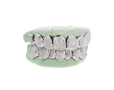 Custom 10K 14K White Gold Grillz Plated Diamond Dust Style Punchout Top & Bottom