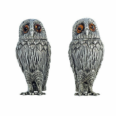 Sterling Silver Wise Owl Salt & Pepper Shakers by Francis Howard