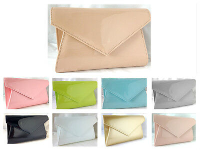 New Nude  Beige Flesh Pink Lime Grey Faux Patent Leather Evening Day Clutch Bag