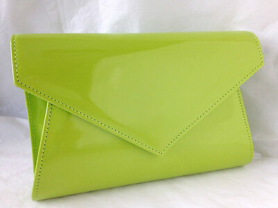 New Lime Green  Faux Patent Leather Evening Day Clutch Bag Wedding Prom Party