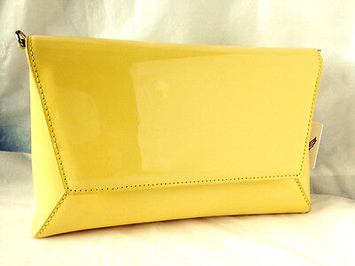 d248fd7468 New Yellow Faux Patent Leather Evening Day Clutch Bag Wedding Prom Party  Club