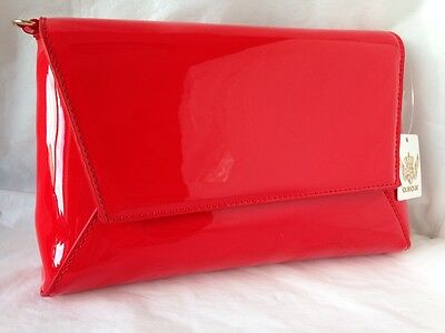 New Bright Red Faux Patent Leather Evening Day Clutch Bag Wedding Prom Party