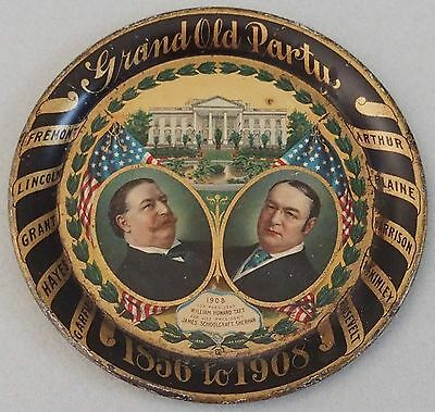 Grand Old Party 1908 Advertising Tip Tray Near Mint William Taft And Sherman