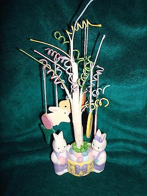 Bunny Rabbit Easter Tree With Wood Ornaments Flambro