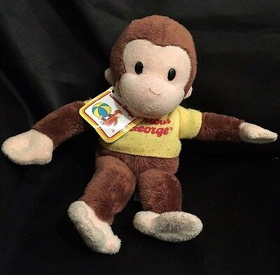 "Curious George Plush Monkey 9"" Stuffed Animal Applause Yellow Shirt"