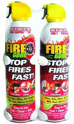 Fire Gone 2 Pack with Brackets 16 oz., New, Free Shipping