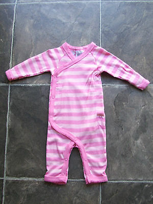 BNWT Baby Girl's Pink Stripey Cotton Knit Coverall/Onesie/Sleeper Sizes 000 & 00