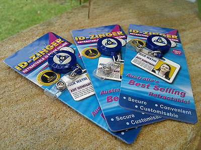 Retractable ID Card Badge Key Chain Holder x 3, Metal Clip, Blue, FREE POSTAGE