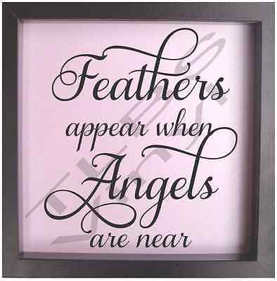 Vinyl Feathers appear when Mum and Dad are near Angels sticker decal quote 16cm