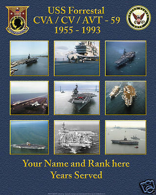 USS Forrestal CVA/CV-59 Custom Personalized Poster of US Navy Ships Unique