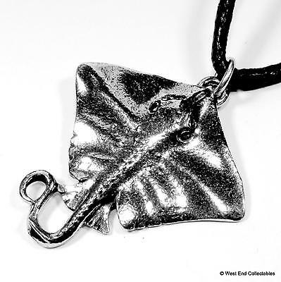 Stingray Fishing Charm Pendant Necklace - UK Made - Whiptail Manta Ray Fish