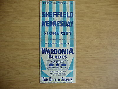 1945/6 Sheffield Wednesday v Stoke City - FA Cup 5th Round Replay