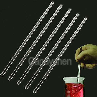 5X Glass Stirring Rods 5mm x 150mm/200mm for Lab Use Stir Bar Stirrer Laboratory