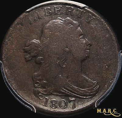 1807 VF20 PCGS Secure 1/2C Draped Bust Half Cent, Even Coloring, Problem Free!!