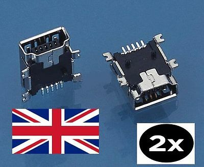 2 x 5-Pin Female Mini USB Type B SMT PCB Socket Connector TomTom GPS PSP