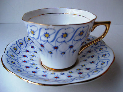 RARE Vintage Rosina Cup & Saucer Blue/Red/Yellow Stars Scroll Gold 4977 England