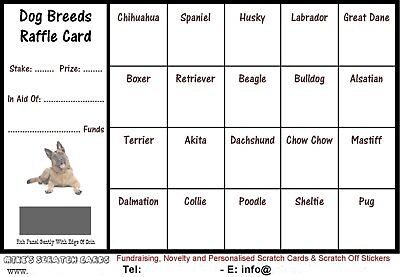 10 x A6 Dog Breeds Fundraising Raffle Cards, Scratch Cards, fundraising, charity