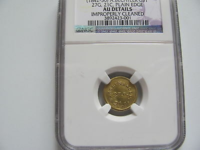 1842-50 A.bechtler $ 1 Gold.plain Edge.au.