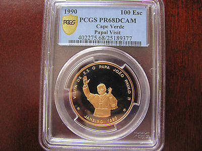 1990 Cape Verde 100 Escudos Pope John Paul Ii . Superb Pr 68 D.cameo