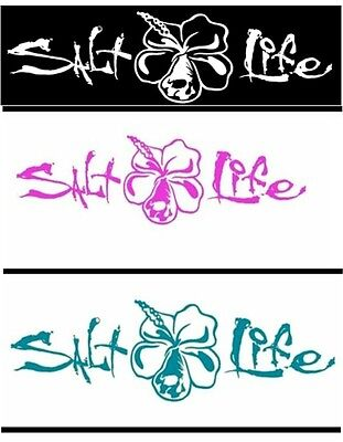 New Salt Life Signature Hibiscus Flower Large UV  Weatherproof Decal Sticker
