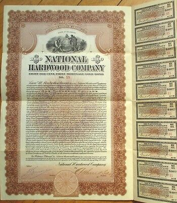 1921 Gold Bond Certificate: National Hardwood - Muskogee, Oklahoma - Brown/$1000