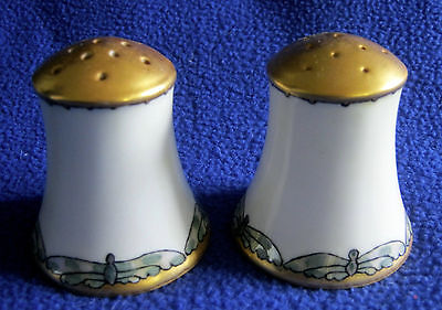 1923 Salt and Pepper Shakers Handpainted Dragonfly Motif E.C. Glasier Gold Tops