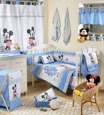 Brand New Disney  4 Piece Baby Blue Mickey Mouse  Crib Bedding Cot Set