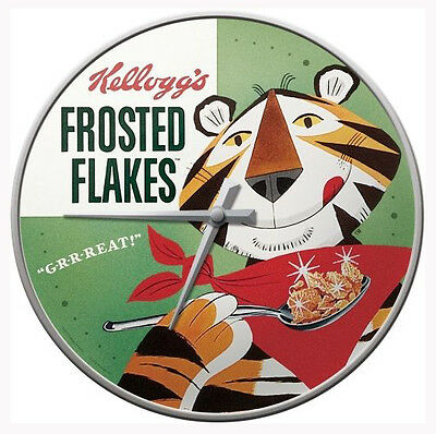 Retro Wall Clock Kellogs FROSTED FLAKES LOGO Image 30cm Vintage look Metal/Glass