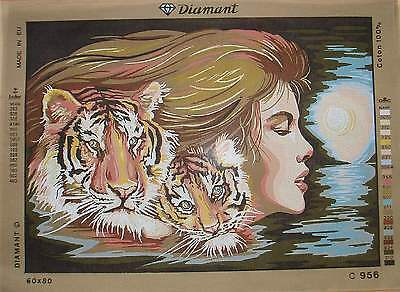 """Diamant-  Lovely Woman and Tigers  C956- Large canvas 19.5 x 27.5"""""""