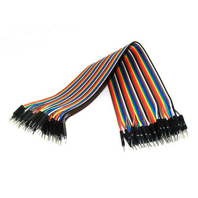 40Pcs 20cm Male to Male Dupont Wire Jumper Cable 2.54mm for Arduino Breadboard