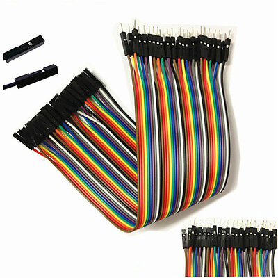 40PCS Dupont Wire Color Jumper Cabl 2.54mm 1P-1P Male to Female 20cm for Arduino