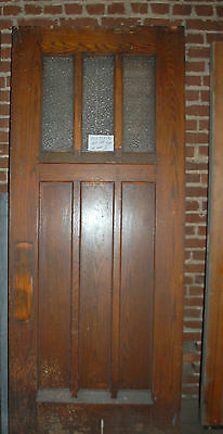 Antique Arts / Craft Oak Exterior Panel Door With Obscure Glass Architectural Sa