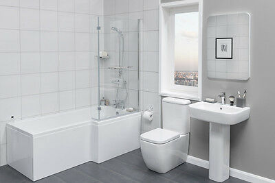 Luxury Bathroom Suite with Right Hand L Shape Shower Bath + Basin Sink + Toilet
