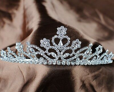 Elegant Tiara Floral Crown Rhinestone Crystal Headband Bridal Wedding Prom Party