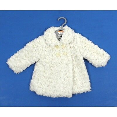 Ex Store Baby Girls Cream Rosebud Fluffy Coat Jacket Age 0 3 6 9 12 Months New