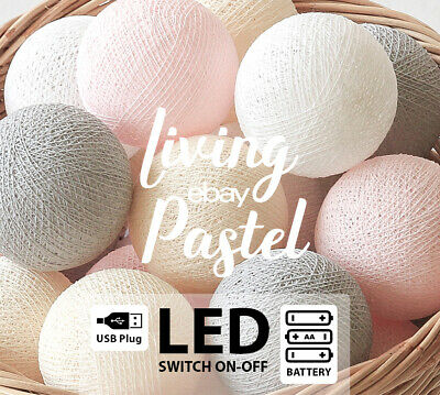 4M AQUA & LATTE COTTON BALL LED BATTERY STRING LIGHTS - Baby room, Kid's room