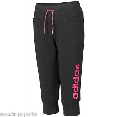 Adidas girls black 3/4 tracksuit bottoms. jogging bottom. Track pant. 7-14 years