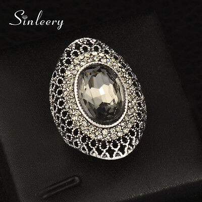 Luxury Vintage Gray Crystal Hollow Big Rings For Women Antique Silver Statement