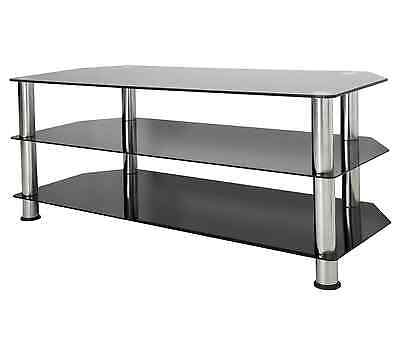 """King Black Glass TV Stand Cabinet LCD LED Plasma 26 to 60"""" inch"""