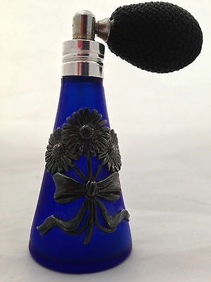 Vintage COBALT BLUE GLASS - SCENT PERFUME BOTTLE / ATOMISER