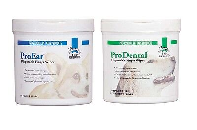 Finger Wipes for DOGS & CATS - 50 Pad Packs to Clean Pet's Ears or Teeth