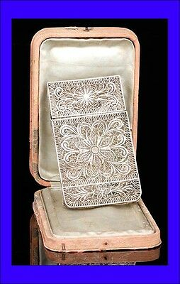 Fine Antique Solid Silver Filigrane Card Holder with Case. 19th Century